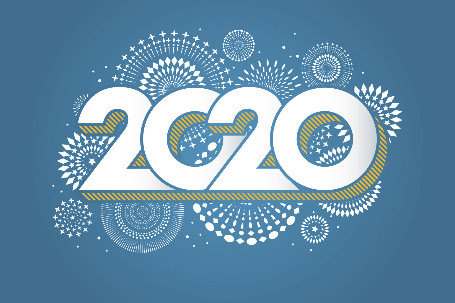 2020 and fireworks graphic