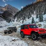 Jeep Wrangler SUV in mountains