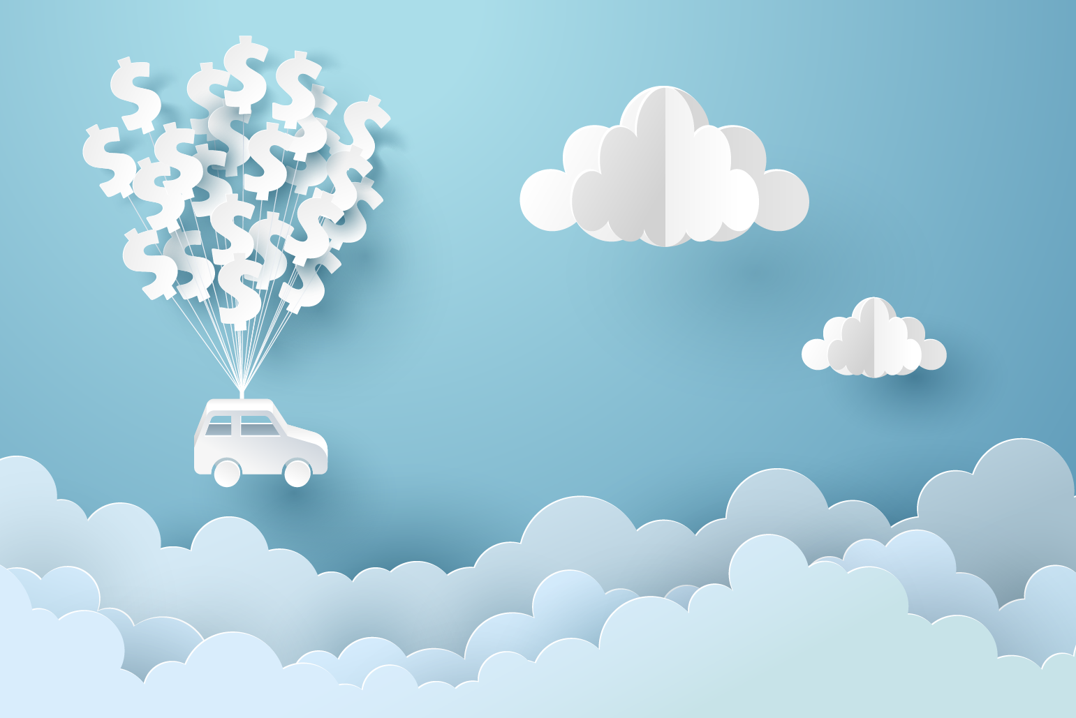 Car lifted by dollars to clouds